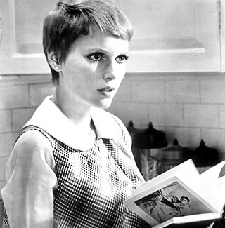 This is Mia Farrow a la Rosemary's Baby. Look at her. She's fierce AF! via William Castle Productions.